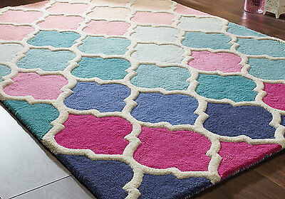 Small Large Rosella Pink Blue Thick Wool High Quality Rugs,runners