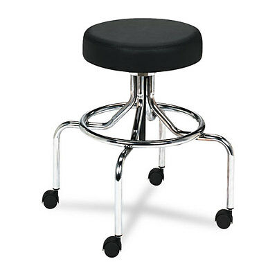 Safco 3433BL Screw Lift Stool w/ High Base Height-Adjustable 25-33h Chrome/Blk