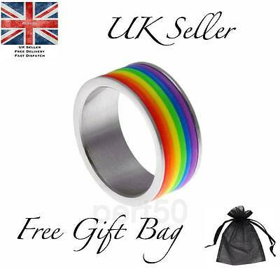 Quality Gay Lesbian Pride LGBT Rainbow Ring Stainless Steel Present Gift US10