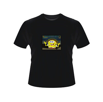 Sound Activated LED T-Shirt Flashing SpongeBob Rainbow Glow in the dark