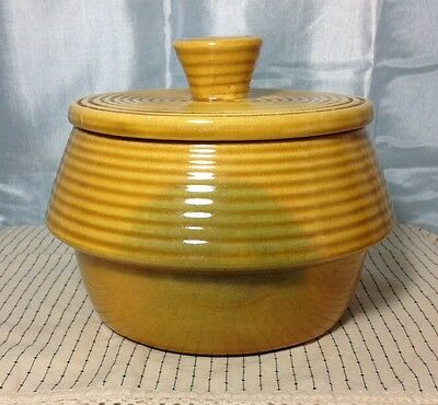Vintage California USA Pottery P150 Bowl with Lid gold Swirl