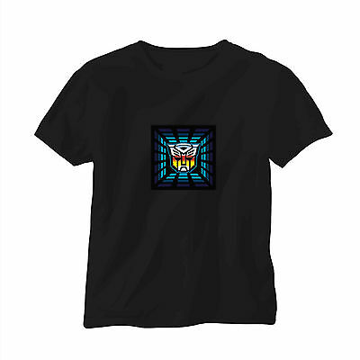 Sound Activated LED T-Shirt Music Transformer Autobot Glow in the dark