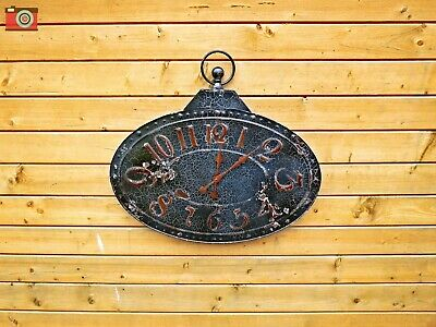 A Stunning Giant Wall Clock. Large Distressed Antique Look, All Metal. Patina