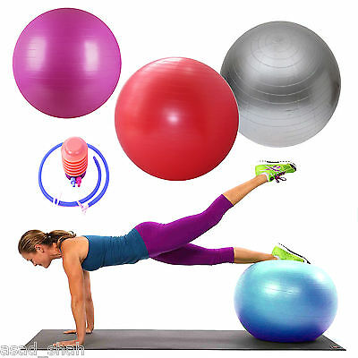 65CM Yoga Ball Anti Burst GYM Swiss Fitness Exercise Pregnancy Birthing + Pump