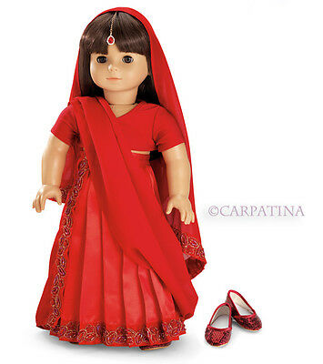 "Doll Clothes 18"" Skirt Top Indian Sari Red Shoes Jewel Fits AG Girl Dolls"