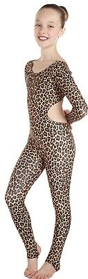 Catsuit Long Sleeves Leopard Plain Front with Cut-outs (#LISA)