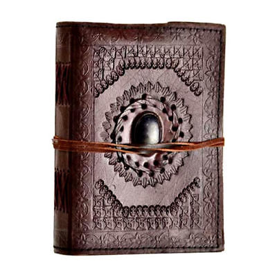 "God's Eye Stone 7"" Leather Book Notebook Journal Diary Linen Parchment Pages"