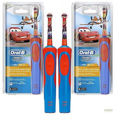 New Oral-B Kids Stages Disney Cars Electric Rechargeable Toothbrush 2 Pack