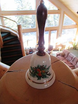 Wood Handled Avon Porcelain Christmas Bell  Gold Trim 1985