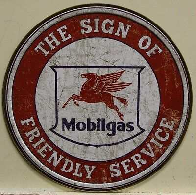 "MOBIL mobilgas 12"" Metal Sign gas & oil friendly service weathered look 2025"