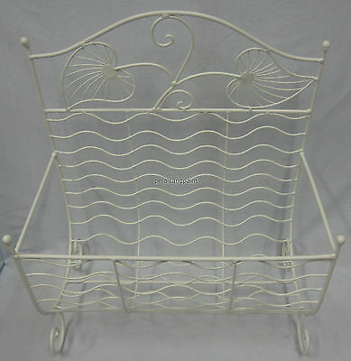 New French Provincial Metal Magazine Rack,Book or Newspaper Holder Ornate Cream