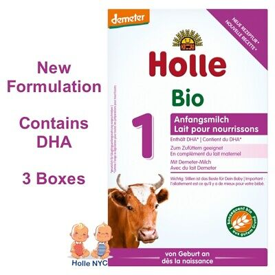 Holle Stage 1 Organic Formula, 400g 12/2019, 3 BOXES FREE EXPEDITED SHIPPING