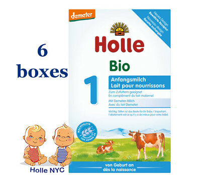 Holle Stage 1 Organic Formula, 400g 08/2019, 6 BOXES FREE EXPEDITED SHIPPING