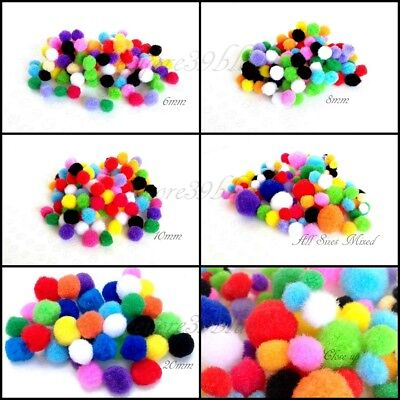 CRAFT POM POM Mini-Pompoms Various Sizes Mixed Colours 6mm, 8mm, 10mm or 20mm