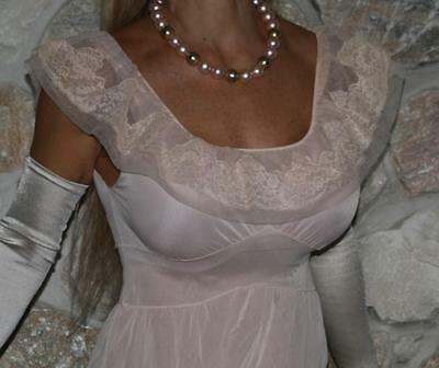 S / M LONG PINK VINTAGE SHEERIO LINGERIE Van Raalte NEGLIGEE NIGHTGOWN