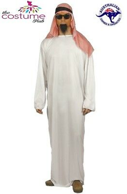 Mens Arab Shiek White Tunic Costume Ali Baba Arabian Sheik Sultan Size M -L