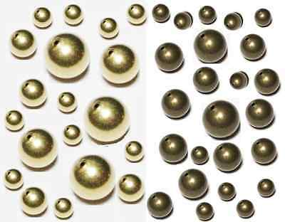 Brass Round Hollow Beads Raw Or Vintage Choose Quantity  & Sizes 3 MM TO 20 MM