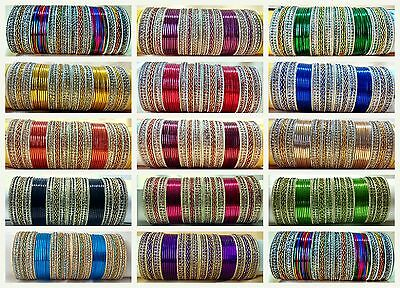 Indian Bollywood traditional Wedding 48pcs bangles Fashion Jewelry size 2.6 2.8