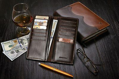 Leather Credit Card Holder Long Wallet Purse Checkbook Clutch Herme - GP NEW