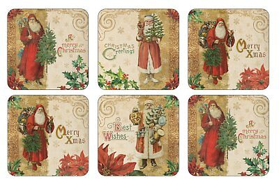 Pimpernel Victorian Christmas Design Coasters Set of 6 Xmas Drink Mats Tradition