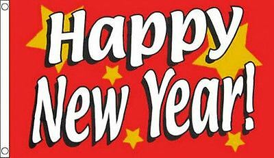 5' x 3' Red Happy New Year Flag Christmas Party Banner
