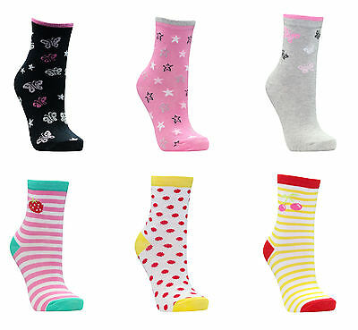 6 Pairs Girls Childrens Socks Cotton Rich Funky Fun Printed Colourful