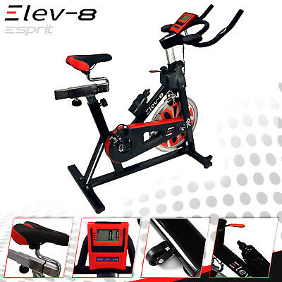 ELEV-8 Spin Exercise Bike Fitness Cardio Workout Machine BLACK/RED