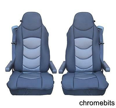 2 Pcs Grey Comfort Padded Seat Covers Cushioned For Volvo 16 Fh16 Fh12 Fl Fe Fm