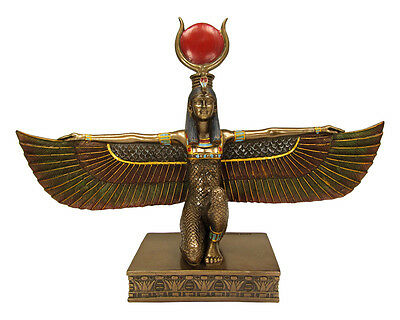 """Kneeling Isis with Wings Spread Egyptian Goddess Egypt Kemetic Statue 9"""" tall"""