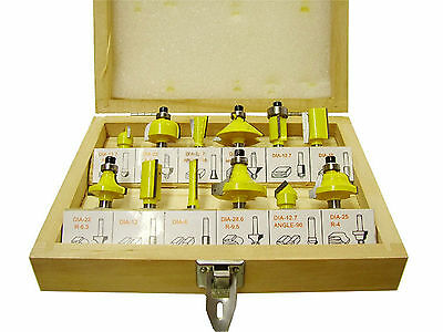 "12 Piece TCT Tipped Router Bit Set with 1/4"" inch shank"