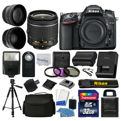Nikon D7100 Digital SLR Camera Body 3 Lens Kit 18-55mm Lens + 32GB Top Value