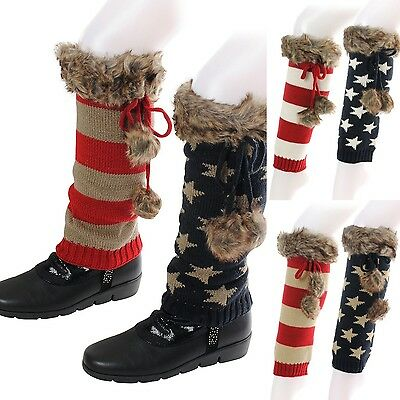 Boot Cuffs Covers American Flag USA Stars Stripes Knit Fur Pom Pom Western Rugs
