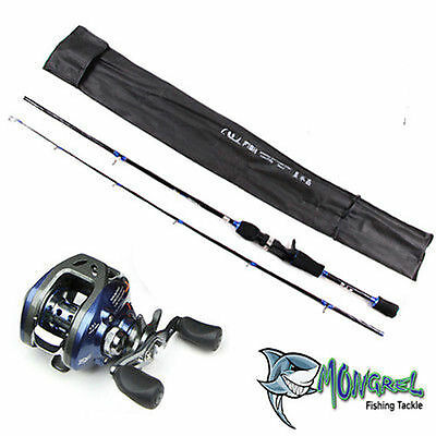 NEW  Baitcaster Rod & Reel Combo reel great for kayak fishing, LEFT HAND COMBO