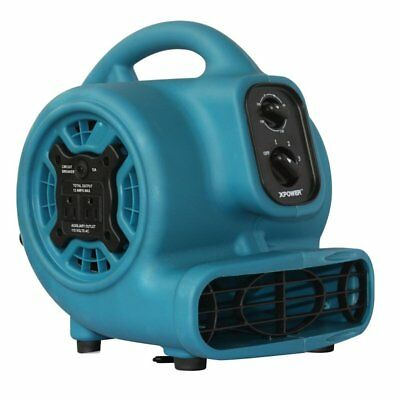XPOWER P-230AT 1/5 HP 2.3 Amp 800 CFM Mini Air Mover with Timer & Dual Outlets