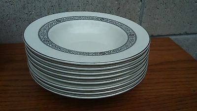 Set of 8 Edgerton China MIDNIGHT LACE rimmed soup bowls