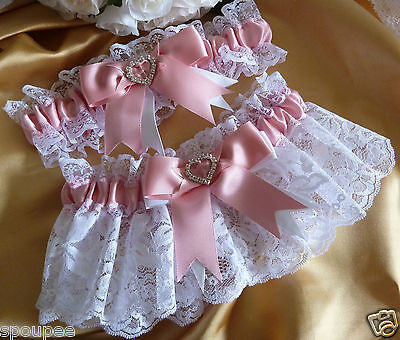 DUSTY PINK and WHITE GARTER SET WEDDING BRIDE GIFT SATIN LACE HEART VINTAGE NEW