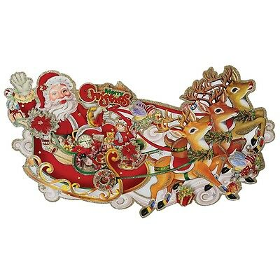 dotcomgiftshop SANTA'S SLEIGH TRADITIONAL CHRISTMAS 3D PAPER WALL DECORATION