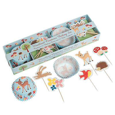 dotcomgiftshop WOODLAND ANIMALS BAKING SET 24 FAIRY CAKE CASES & 24 TOPPERS