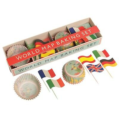 dotcomgiftshop BAKING SET 24 WORLD MAP CUPCAKE FAIRY CAKE CASES 24 FLAGS TOPPERS