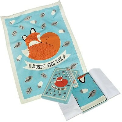 dotcomgiftshop RUSTY THE FOX PRINTED COTTON TEA TOWEL IN A GIFT BOX