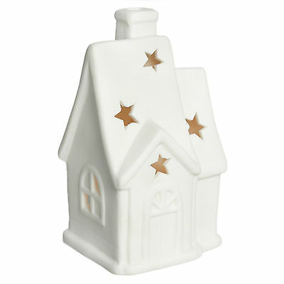 dotcomgiftshop WHITE CERAMIC CHRISTMAS CHURCH TEA LIGHT CANDLE HOLDER