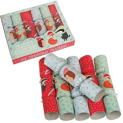 dotcomgiftshop SET OF 6 RUSTY, HEDGEHOG AND MR BADGER CHRISTMAS PARTY CRACKERS