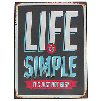 dotcomgiftshop LIFE IS SIMPLE VINTAGE METAL SIGN