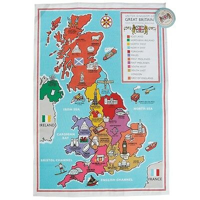 dotcomgiftshop REGIONAL BRITISH SCHOOL MAP PRINTED COTTON TEA TOWEL