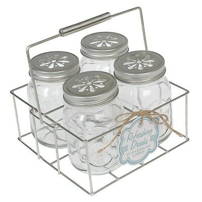 dotcomgiftshop SET OF 4 DRINKING JARS IN CRATE BOTTLES GLASS WITH CARRIER