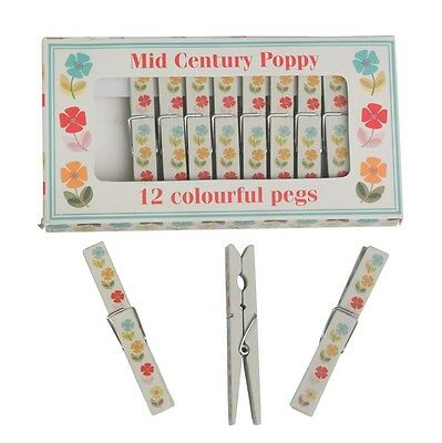 dotcomgiftshop SET 12 MID CENTURY POPPY DESIGN WOODEN CLOTHES PEGS IN A GIFT BOX