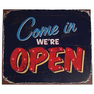 dotcomgiftshop COME IN WE'RE OPEN BATTERY POWERED LIGHT UP CANVAS SIGN