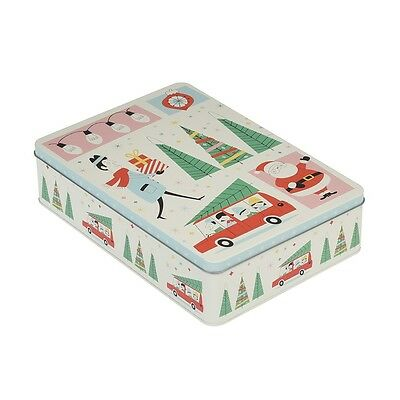 dotcomgiftshop RECTANGULAR FESTIVE FAMILY CHRISTMAS BISCUIT TIN