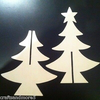 1 x 3D WOOD/WOODEN UNFINISHED CHRISTMAS/XMAS TREE ~ 25cm ~ GREAT TO DECORATE