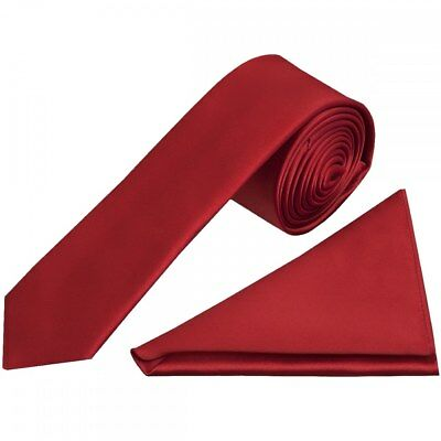 TiesRus Plain Red Wine Skinny Mens Tie and Handkerchief Set Wedding Tie Prom Tie